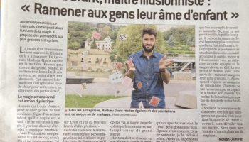 Article du 8/10/16 dans Le Progrès Mathieu Grant Magicien Mentaliste Lyon
