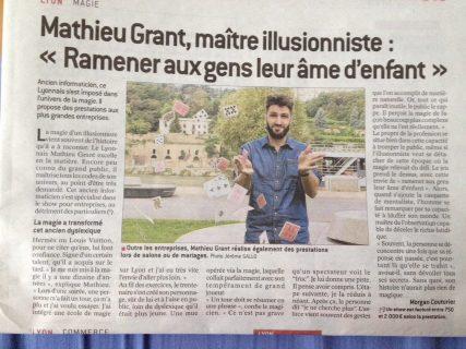 Article du 8/10/16 dans Le Progrès Mathieu Grant Magicien à Lyon