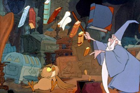 merlin l'enchanteur fait voler des livres